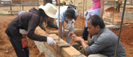Australians and Cambodians working together building homes.